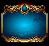 голубая рамка богато украшенный Стоковые Изображения