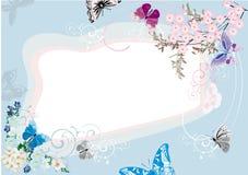 голубая рамка цветка конструкции бабочки бесплатная иллюстрация