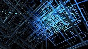 Голубая решетка против черной предпосылки иллюстрация 3 d стоковое фото rf