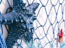 Голубая сеть и искусственные морские звёзды сделанные из пластмассы на стене декабре Стоковые Фото