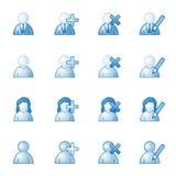 голубая сеть потребителей серии икон иллюстрация вектора