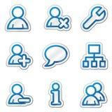 голубая сеть потребителей стикера серии икон контура иллюстрация вектора