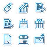 голубая сеть стикера покупкы серии икон контура Стоковые Изображения RF