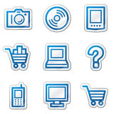 голубая сеть стикера серии икон электроники контура Стоковые Изображения RF