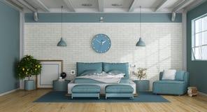 Голубая спальня хозяев в просторной квартире иллюстрация вектора