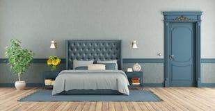 Голубая спальня хозяев в ретро стиле иллюстрация штока