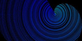 Голубая спиральная текстура Grunge на черной предпосылке Стоковые Изображения