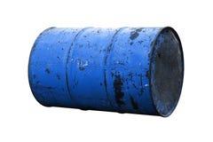 Голубая старая ржавчины масла бочонка изолированная на белой предпосылке Стоковая Фотография RF
