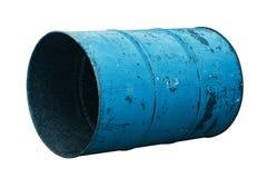 Голубая старая ржавчины масла бочонка изолированная на белой предпосылке Стоковая Фотография