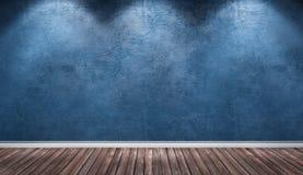 Голубая стена гипсолита, деревянная комната интерьера пола Стоковая Фотография