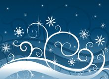 голубая страна чудес зимы снежинок Стоковое Изображение