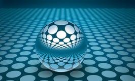 голубая сфера отражений 3d Стоковая Фотография