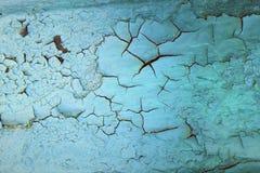 Голубая текстура краски с треснутой структурой Стоковые Фотографии RF