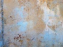 Голубая текстура grunge поверхности металла при хлопья краски запаздывая позади стена Стоковые Фото