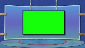 Голубая тематическая студия ТВ с greenscreen иллюстрация штока