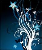 голубая темная флористическая картина Стоковое Фото