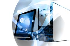 голубая технология смешивания компьютера Стоковое Фото