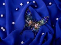 голубая ткань темноты бабочки Стоковые Фотографии RF