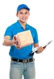 голубая форма работника доставляющего покупки на дом Стоковая Фотография