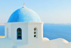 голубая церковь Греция стоковое изображение rf