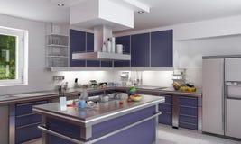 голубая шикарная кухня Стоковые Изображения