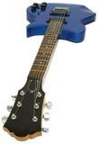 голубая электрическая изолированная гитара Стоковое фото RF