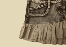 Голубая юбка джинсовой ткани на белой предпосылке Стоковая Фотография RF