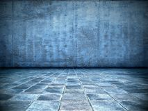 голубая grungy комната Стоковое Фото