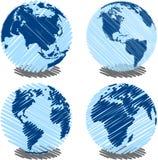 голубая scribbled земля иллюстрация вектора