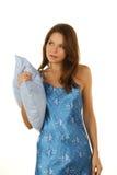 голубое брюнет над белизной подушки сонной Стоковые Изображения RF