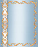 голубое венчание сатинировки приглашения граници Стоковая Фотография