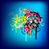 голубое в стиле фанк графическое ретро Стоковая Фотография