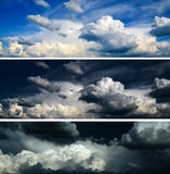голубое драматическое небо комплекта бурное стоковое фото