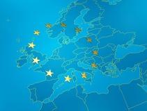 голубое европейское соединение tfe карты Стоковые Фото
