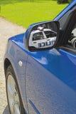 голубое зеркало автомобиля Стоковое Изображение RF