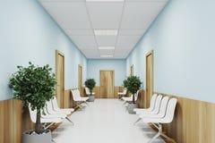 Голубое и деревянное лобби больницы бесплатная иллюстрация