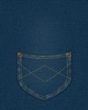 голубое карманн джинсовой ткани Стоковая Фотография