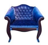 Голубое классическое винтажное кресло стиля с типа тренер capitone screed изолированное на белой предпосылке стоковые изображения rf