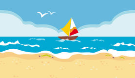 голубое море парусника Стоковые Изображения RF