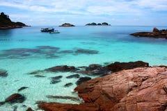 голубое море redang острова шлюпок Стоковые Изображения