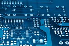 голубое напечатанное электрическое цепи доски Стоковое Фото