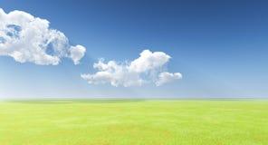 Голубое небо над зеленым лугом Стоковое Изображение RF
