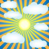 Голубое небо с солнцем и облаками Стоковые Изображения