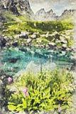 Голубое озеро в долина горе Roshka - Chauki, Georgia Цифров a стоковое изображение rf