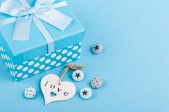 Голубое оформление, кнопки, сердце Стоковое Изображение
