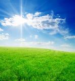 голубое пасмурное небо зеленого цвета травы поля Стоковое Изображение RF
