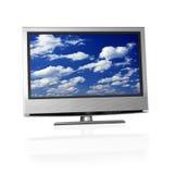 Голубое пасмурное небо на экране tv Стоковые Изображения RF