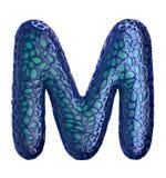 Голубое пластичное письмо m с абстрактными отверстиями 3d Стоковое Фото