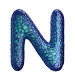Голубое пластичное письмо n с абстрактными отверстиями 3d Стоковое фото RF