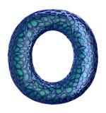 Голубое пластичное письмо o с абстрактными отверстиями 3d Стоковые Фото